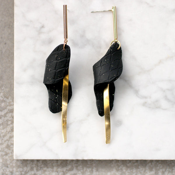 textured black swirl and gold bar earrings Lead | Nickel | Cadmium Free  Size: L8cm from post to bottom of disc Antler jewellery