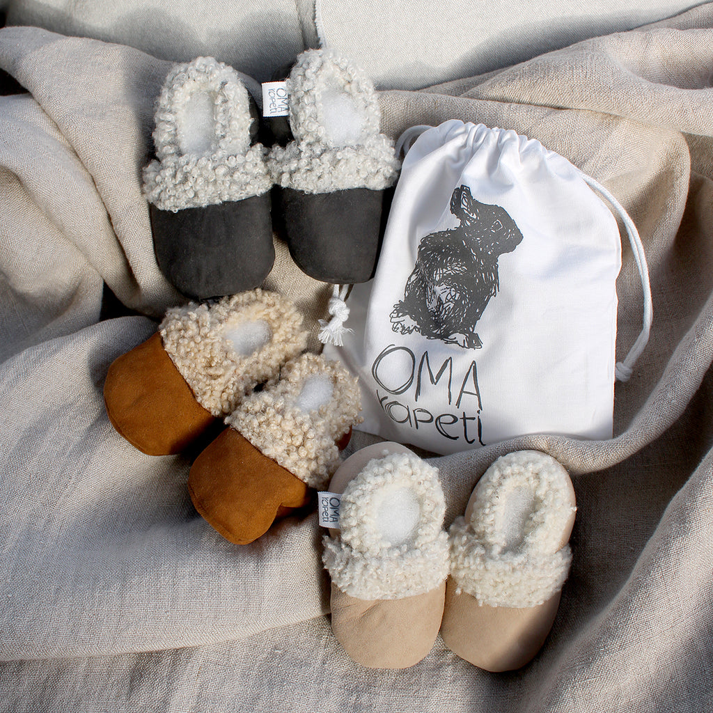 Made from gorgeous, soft NZ lambskin these are essential for all little feet.  Featuring an elasticised opening, they are easy to get on wriggly feet yet fantastic at staying on. Handmade with love in New Zealand.
