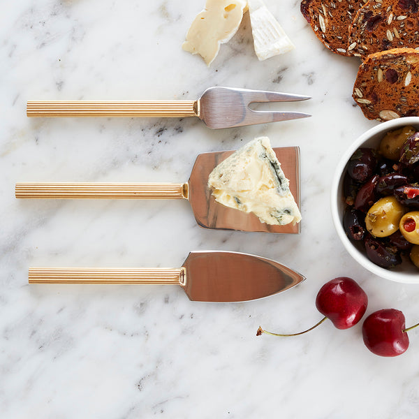A great gift idea!  This elegant Cheese Knife set with brass coated handles is perfect for presenting platters and hors d'oeuvres.
