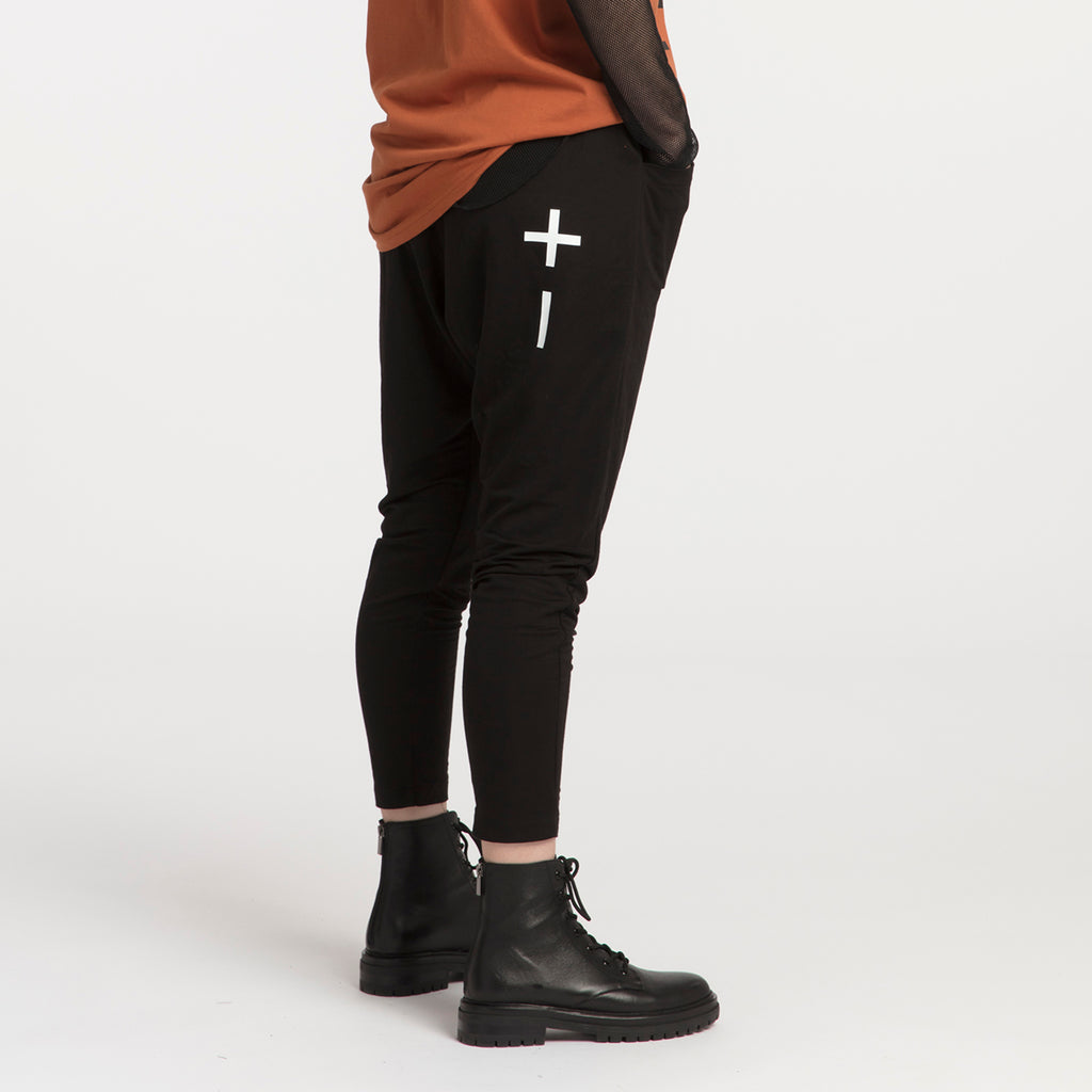 XLAB Positive Negative pants. Quite possibly the most comfortable pants you will find. Dress up or down for you preferred look. NZ Made.  • Rayon • Front pockets • Cropped length • Screen printed • Slight drop crotch