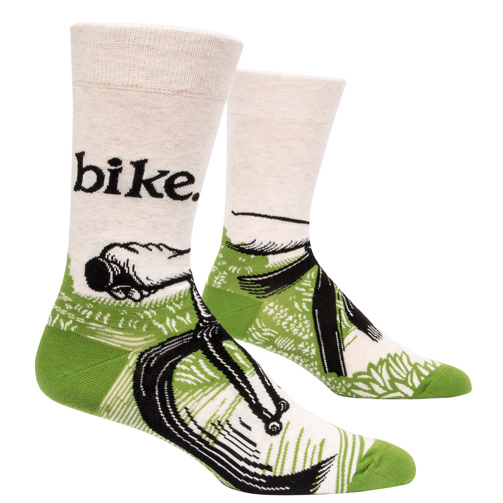 On or off road, up or down hill, my gears are turning and I feel great!  Men's shoe size 7-12.  54% combed cotton; 43% nylon; 3% spandex.