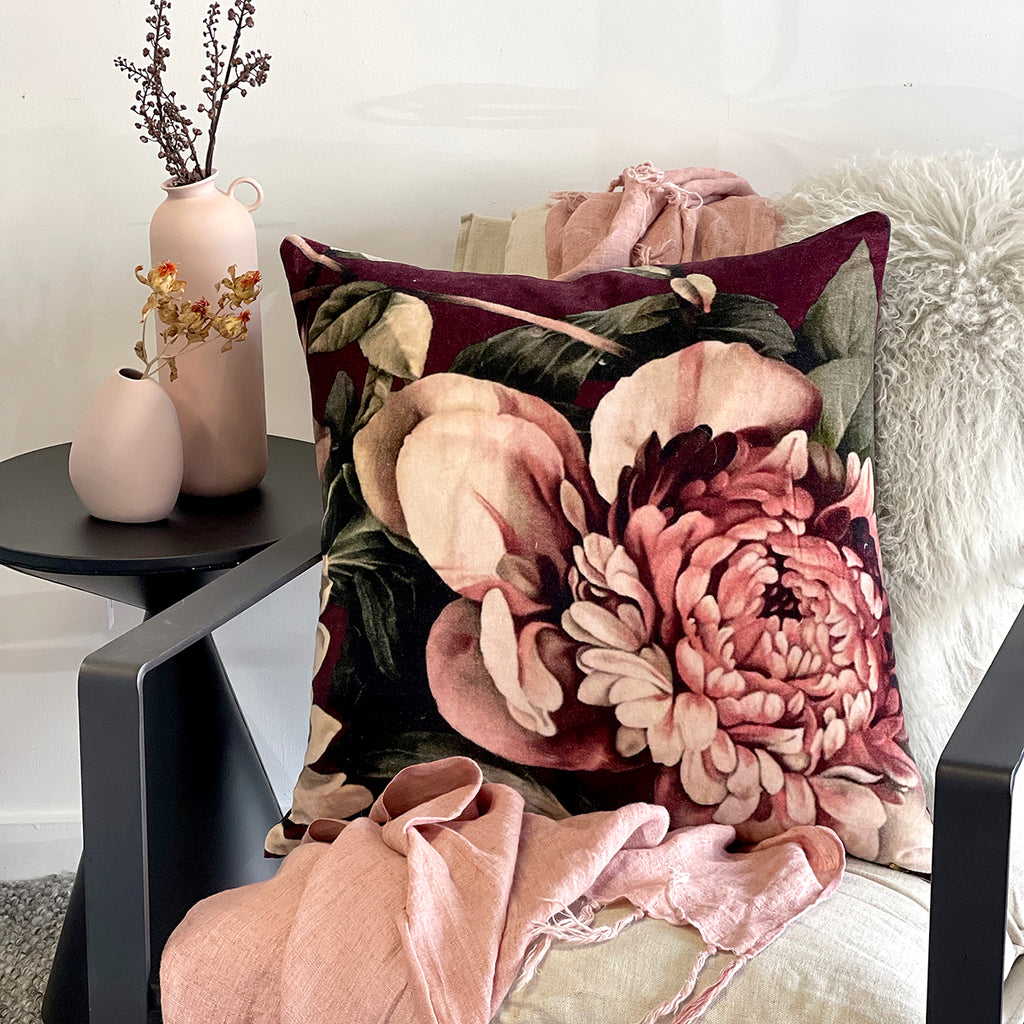 This bold Exotic Floral print cushion will add old-world charm and texture a space, and is the perfect over-sized accessory to brighten up any room, looking gorgeous placed on the bed or sitting in your living room.  • 100% Cotton Velvet cover • 100% White Duck Feather (1400g) • Gold metal zip closure • 60cm x 60cm • Dry Clean only