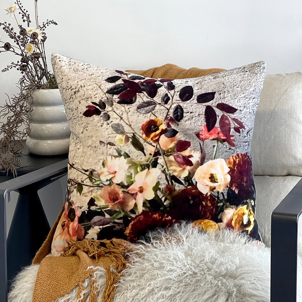 This bold, on trend, flora and fauna inspired printed cushion will add vibrant colour and bold drama to a space, and is the perfect over-sized accessory to brighten up any room, looking gorgeous placed on the bed or sitting in your living room.  100% Cotton Velvet cover. 100% White Duck Feather (1400g). Gold metal zip closure. Single sided print. 60cm x 60cm Dry Clean only