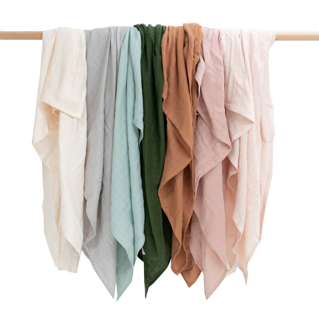 Muslin wraps 12cm x 12cm certified organic GOTS available in 7 colours almond, grey, mist, pine, tawny brown, dusty rose and blush