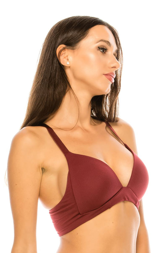 Ladies racer back sports bra w/o underwire