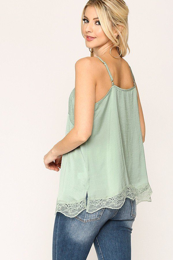 Women's Eyelash Lace Trimmed Sleek Stain Cami V-Neckline Top