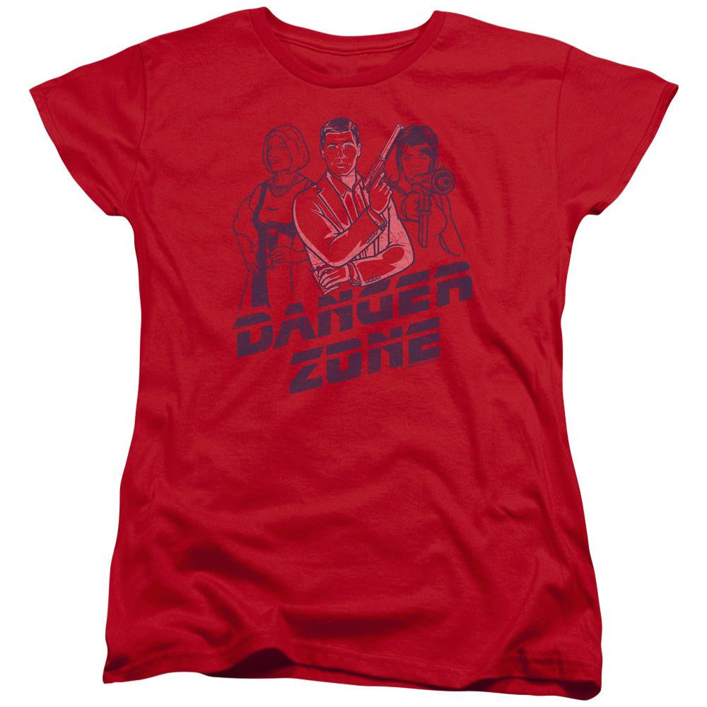 Archer Danger Zone Short Sleeve Women's Fitted Graphic Tee