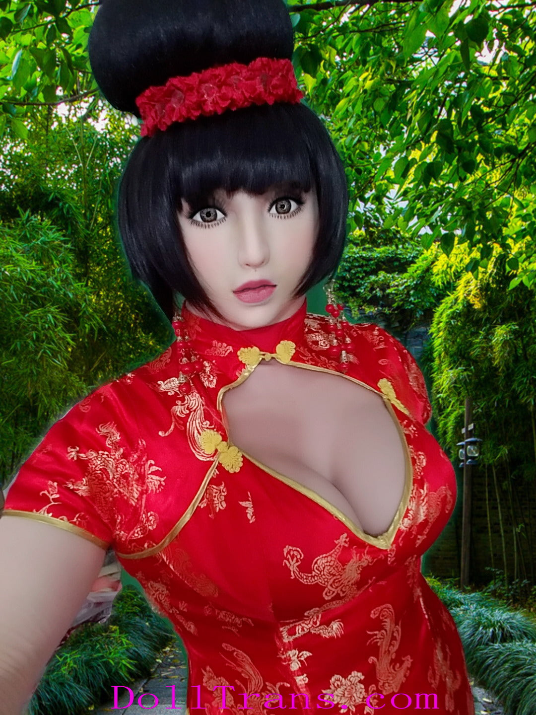 Yukio doll with red china dress and D-cup silicone boobs