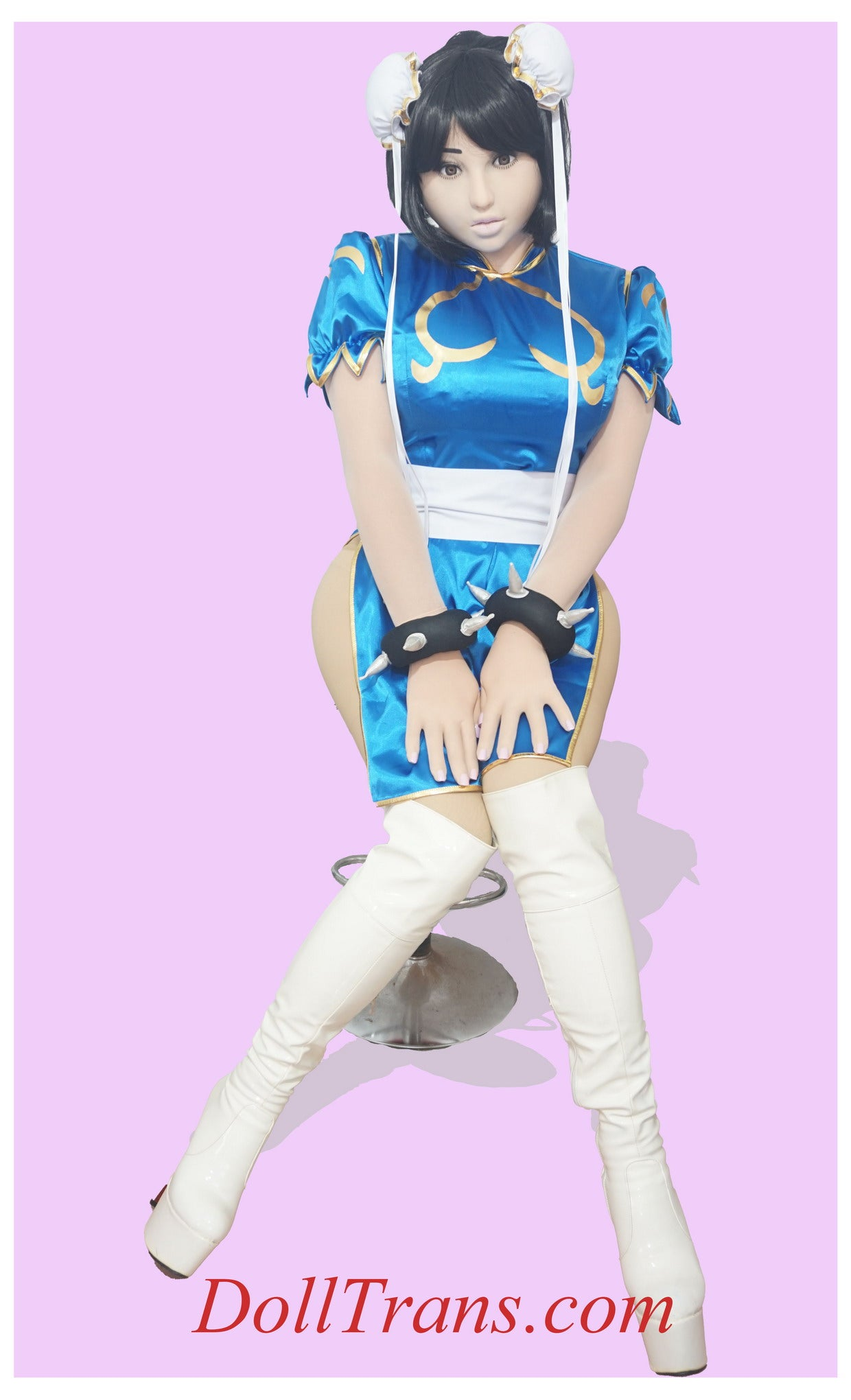 Lovely Chun-Li cosplay with jiggling F-cup boobs style