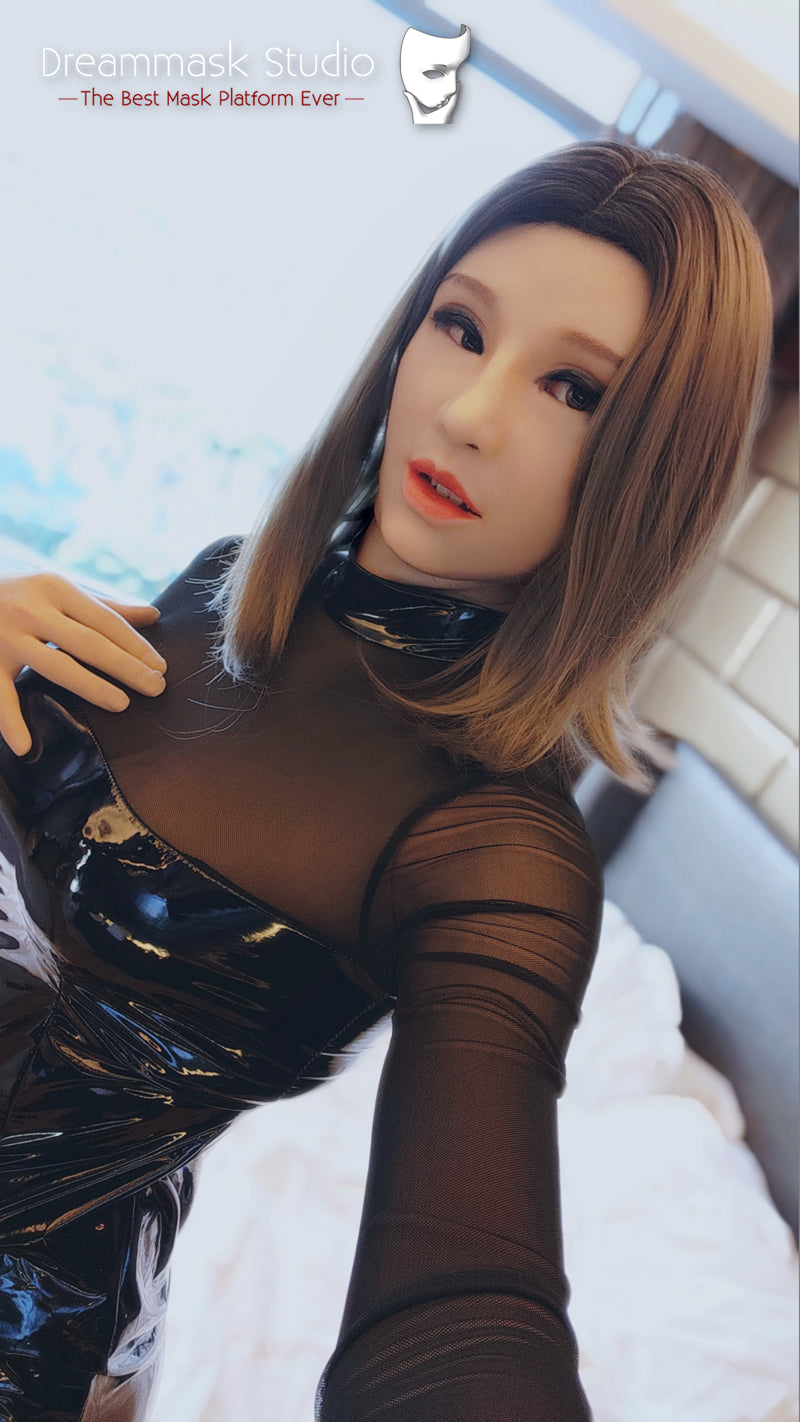 Full head Silicone Female Mask Haena with D Cup Breasts Pull-Over Hood Corssdress Cosplay for TG CD Dragqueen Ladyboy with Cleavage and Realistic trembling Feeling