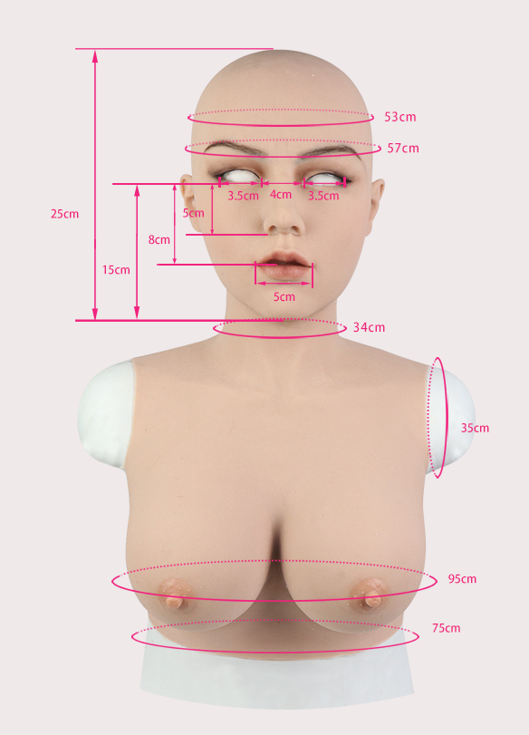 Full head Silicone Female Mask Babala with E Cup Breasts Pull-Over Hood Corssdress Cosplay for TG CD Dragqueen Ladyboy with Cleavage and Realistic trembling Feeling