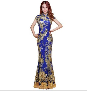 Gorgeous Fishtail Chest-Open China dress for big boobs transformation for party costume Crossdress Cosplay TG CD Dragqueen Ladyboy