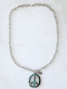 Peace Out Necklace- Patina