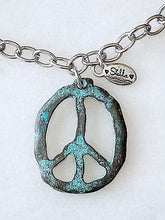 "Load image into Gallery viewer, Peace~ Out Necklace ""Patina"""