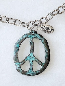 "Peace~ Out Necklace ""Patina"""
