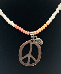 Seed Bead & Peace Sign Necklace