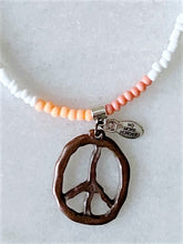 Load image into Gallery viewer, Seed Bead & Peace Sign Necklace