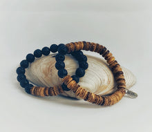 Load image into Gallery viewer, Rustic Coconut & Lava BFF Bracelet Set