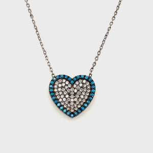 Sterling silver Turquoise cz heart pendant