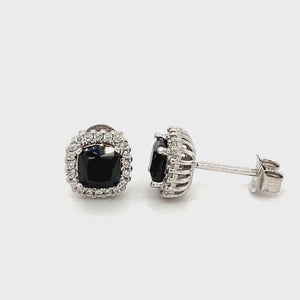 Sterling silver Black cz stud earrings
