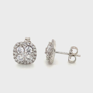 Sterling silver cz cluster studs