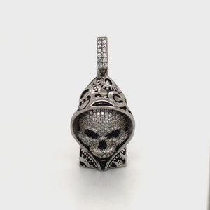 Sterling silver hooded skull pendant.