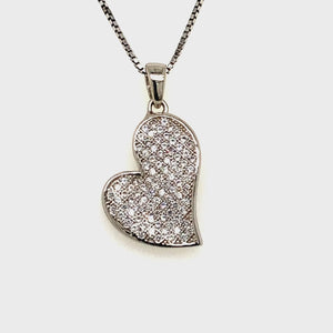 Sterling silver pave heart