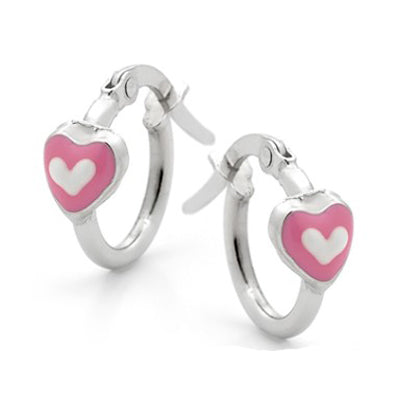 Sterling silver pink and white heart hoop earrings - Red Carpet Jewellers