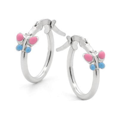 Sterling silver pink and blue butterfly hoop earrings - Red Carpet Jewellers