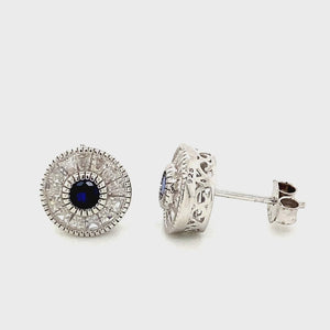 Blue & White CZ Stud Earrings