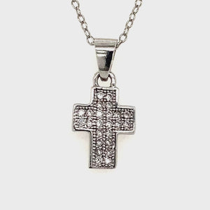 Small sterling silver cz cross