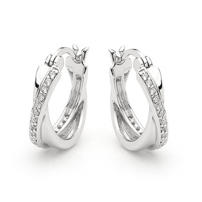 Sterling silver cz cross over hoop earrings - Red Carpet Jewellers