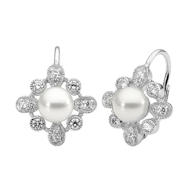 CZ and pearl lever back earrings - Red Carpet Jewellers
