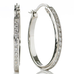 Sterling silver channel set oval hoops - Red Carpet Jewellers