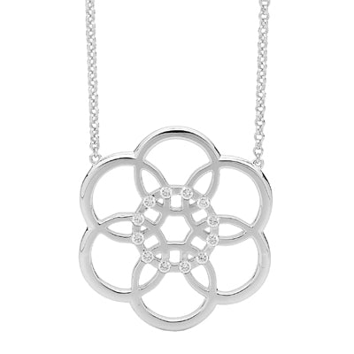 """Flower Silhouette"" cz pendant - Red Carpet Jewellers"