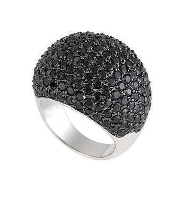 Black cubic zirconia pave set ring. - Red Carpet Jewellers