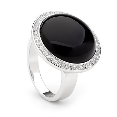 Sterling silver black onyx and cz ring - Red Carpet Jewellers
