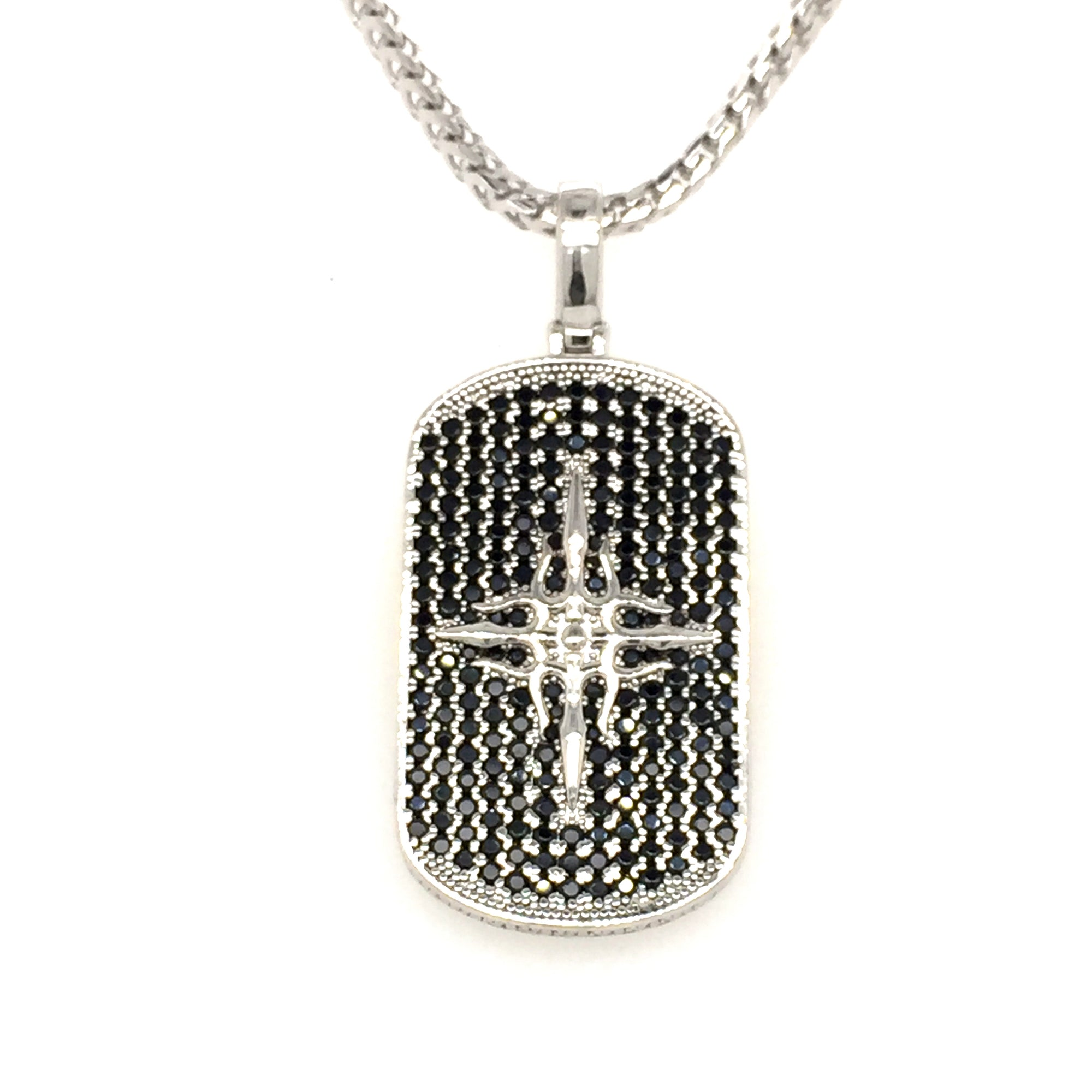 Sterling silver black cz dog tag. - Red Carpet Jewellers