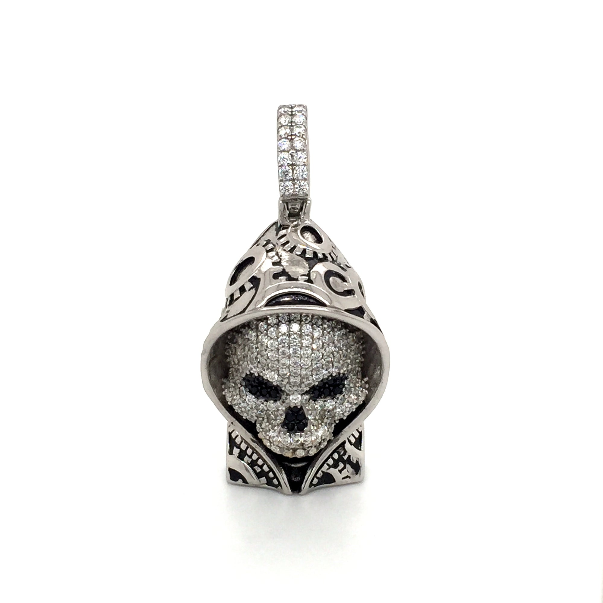 Sterling silver hooded skull pendant. - Red Carpet Jewellers