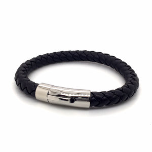 Stainless steel leather bracelet. - Red Carpet Jewellers