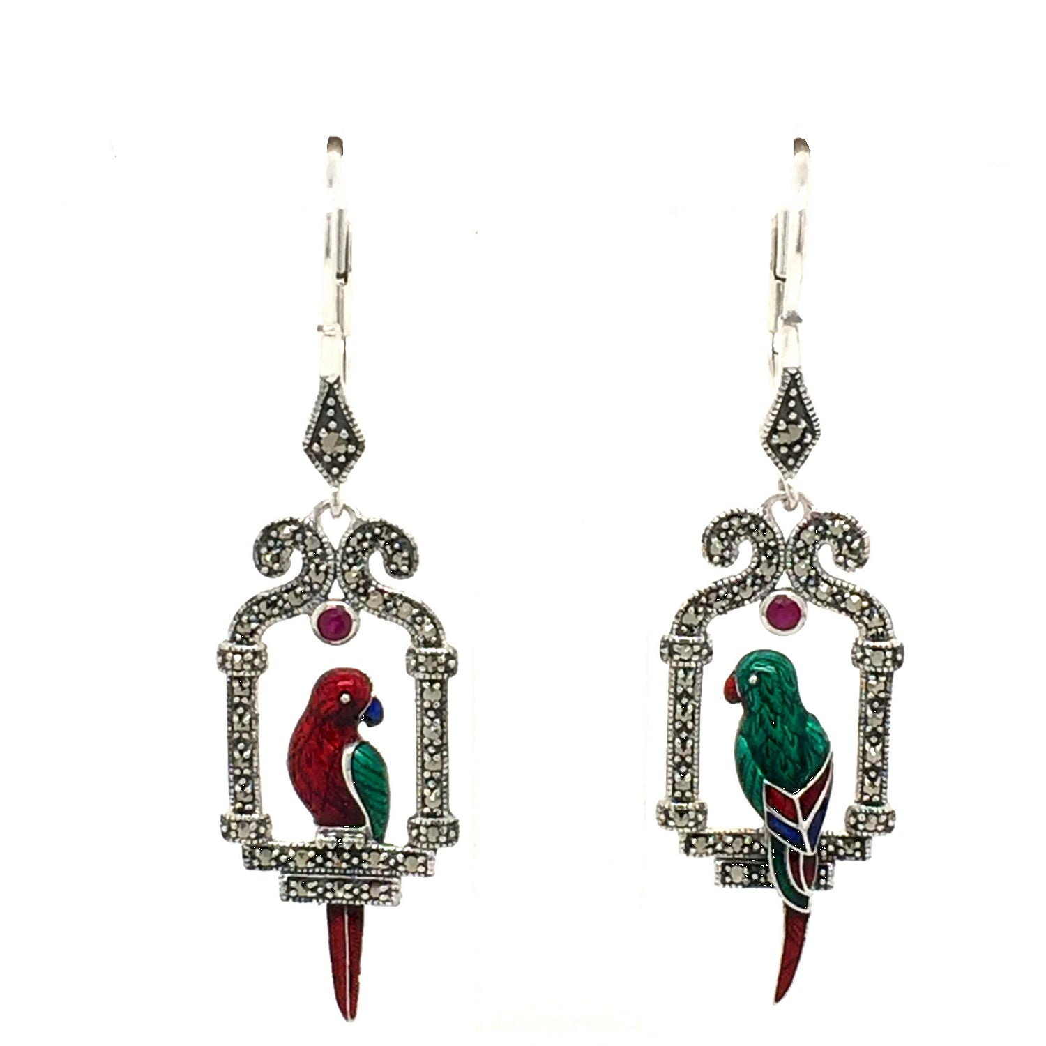Sterling silver Parrot Art deco earrings. - Red Carpet Jewellers
