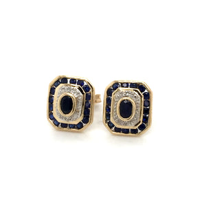 9ct gold Sapphire diamond earrings. - Red Carpet Jewellers