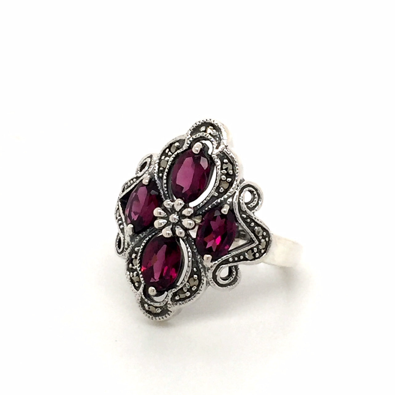 Sterling silver rhodolite garnet ring - Red Carpet Jewellers