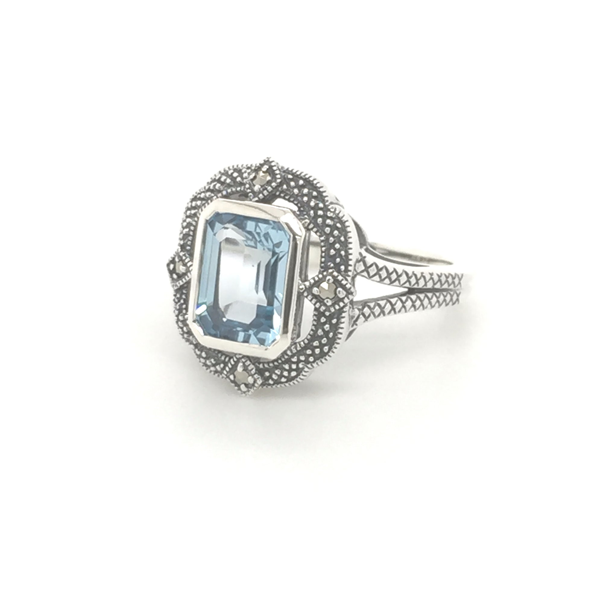 Sterling silver blue topaz Art deco ring - Red Carpet Jewellers