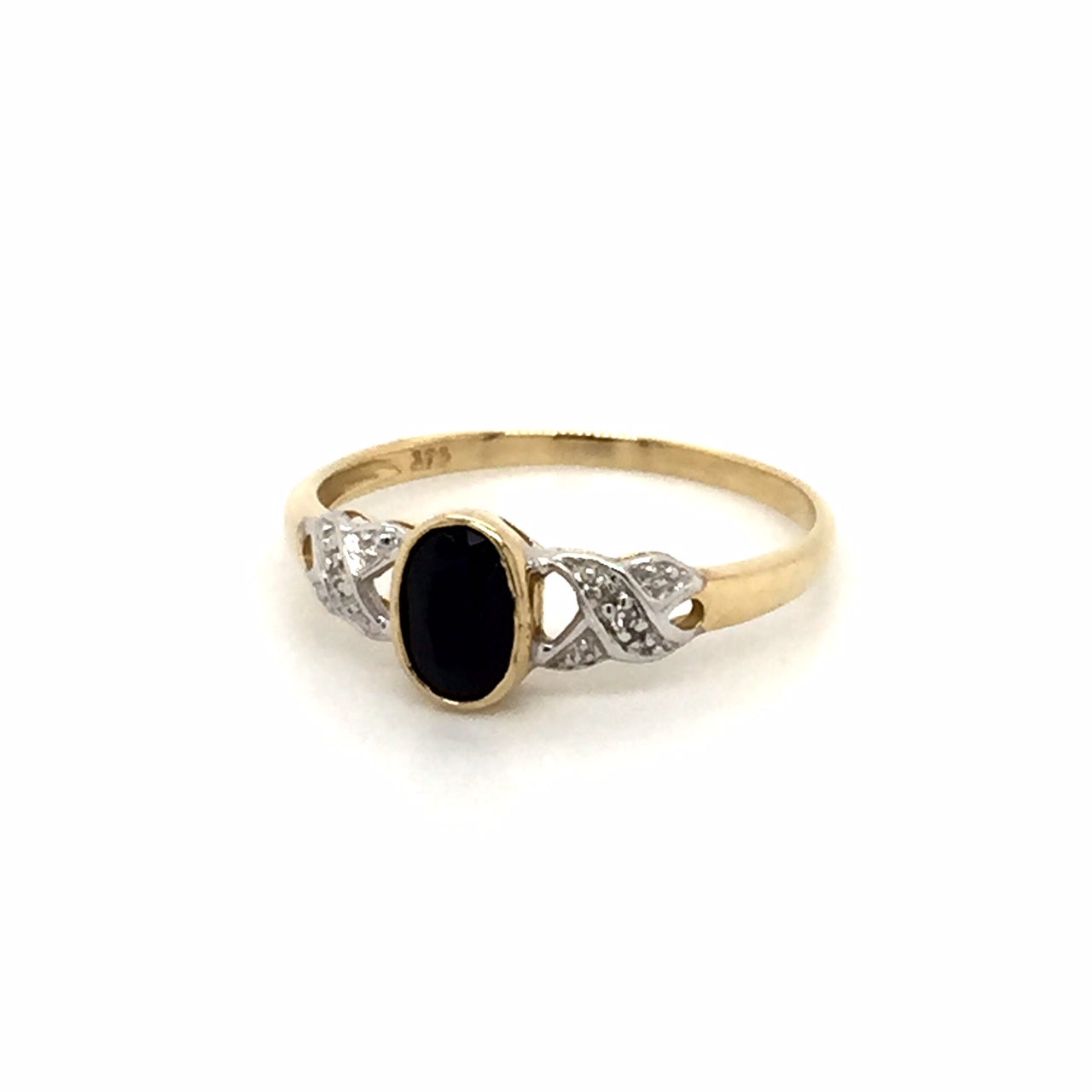 9ct gold dark Sapphire diamond ring - Red Carpet Jewellers