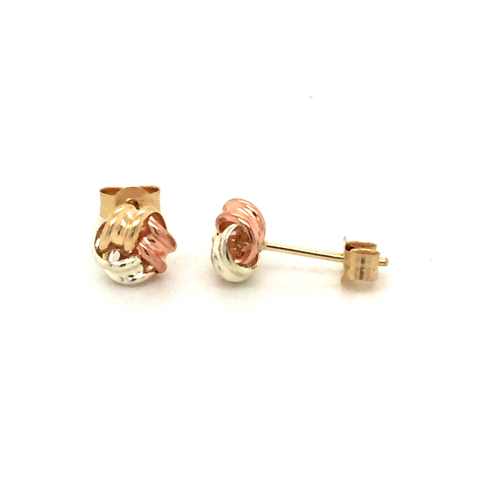 9ct Three tone knot studs - Red Carpet Jewellers