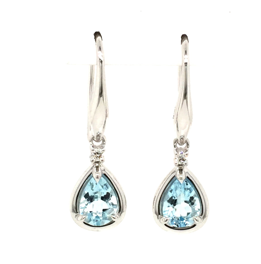 9ct Aquamarine diamond earrings. - Red Carpet Jewellers