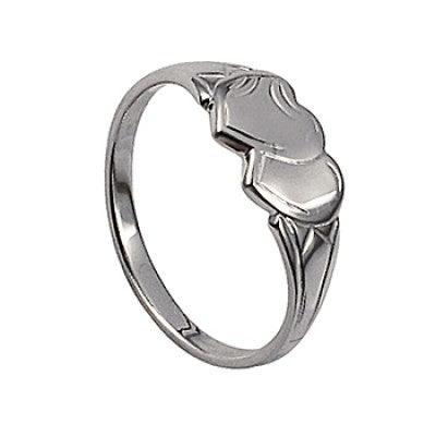 Sterling silver double heart signet ring - Red Carpet Jewellers