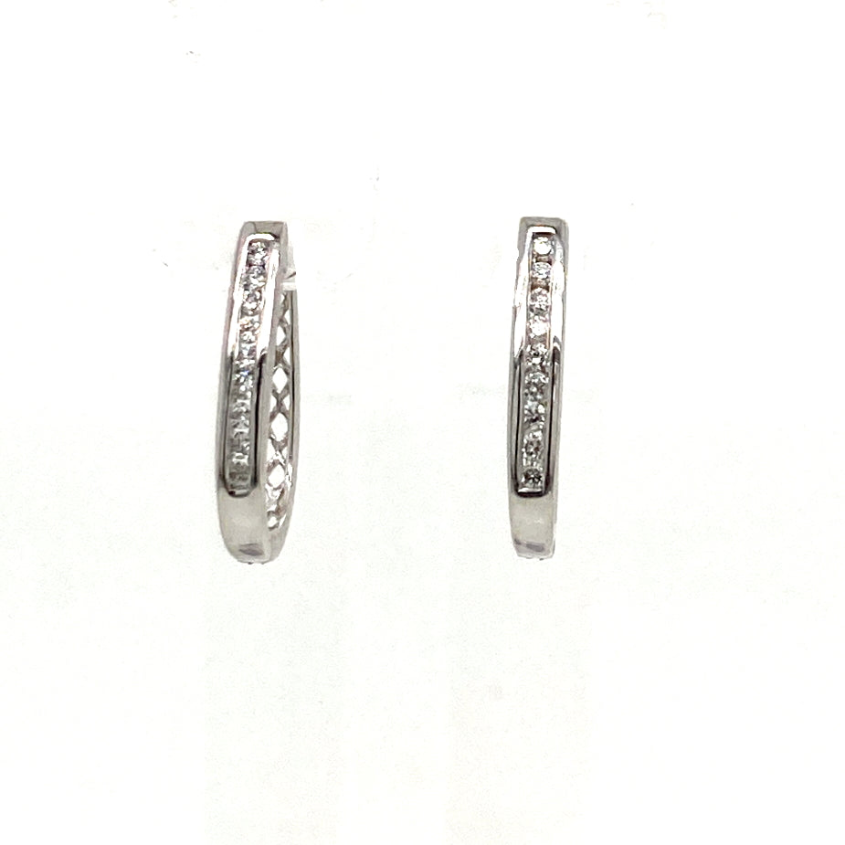 9ct gold diamond huggie earrings - Red Carpet Jewellers