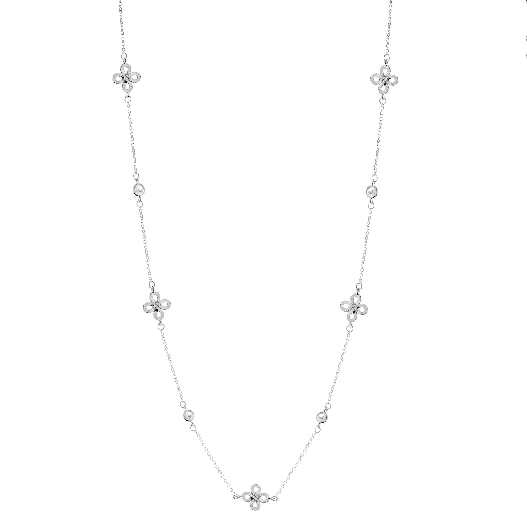 Sterling silver filagree cz necklace. - Red Carpet Jewellers
